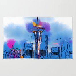 The Space Needle In Soft Abstract Rug