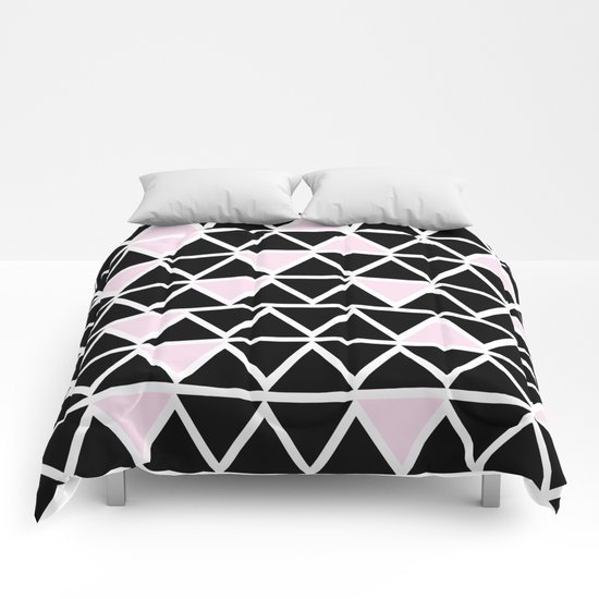 Abstract geometric pattern- pink-black Comforters