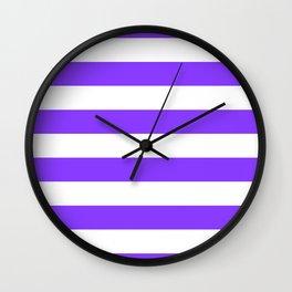 Aztech Purple and White Horizontal Cabana Tent Stripes Wall Clock