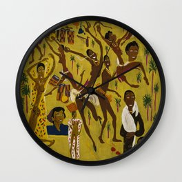 African American Masterpiece 'Three Great Dancers' by William Johnson Wall Clock