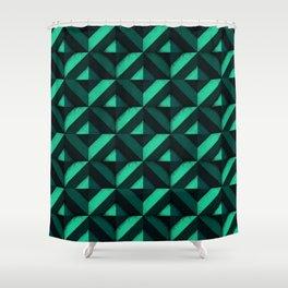 Concrete wall - Emerald green Shower Curtain
