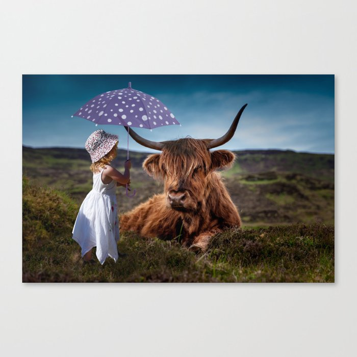 Young Child with Cow Canvas Print