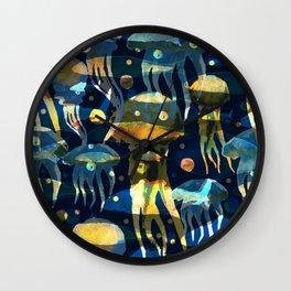 Underwater life. Jellyfish. Hand drawn illustration. Watercolor seamless pattern. Wall Clock