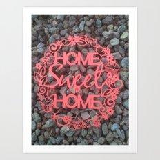 Paper-cut Home sweet home Art Print