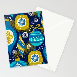 Festive navy blue white yellow abstract Christmas decorations Stationery Cards