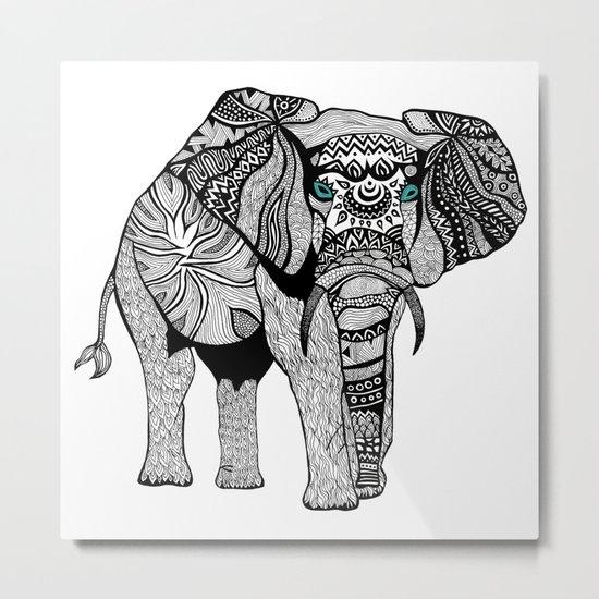 Elephant of Namibia (black & white) Metal Print