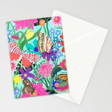 Butterflies and Moths Pattern - Blue Stationery Cards