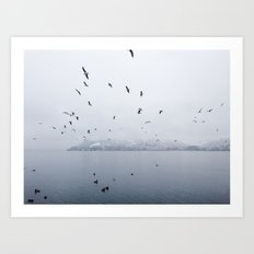 Birds Flying Over Lake Lugano Art Print