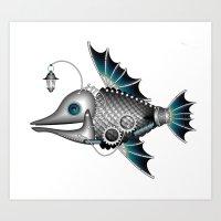 steam punk Art Prints featuring steam punk fish by Elena Trupak