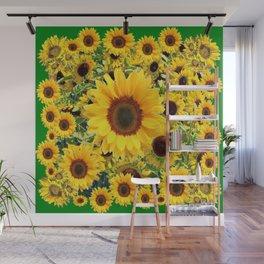DECORATIVE SUMMER SUNFLOWER FIELDS GREEN ART Wall Mural