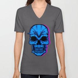 Skull Human Skeleton Bone Head Face Eyes Ears Gift Unisex V-Neck