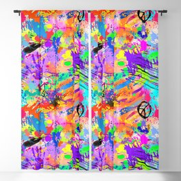 Psychodelic Hipppie Abstract Painting Blackout Curtain