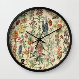 French Vintage Flowers Chart Adolphe Millot Fleurs Larousse Pour Tous Poster  Wall Clock