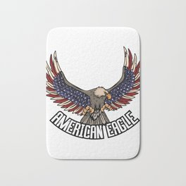 """Eagle Tee For Bird Lovers With A Unique Illustration Of An """"American Eagle"""" T-shirt Design Fly High  Bath Mat"""