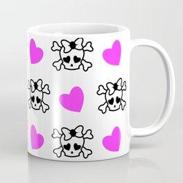Pink girly emo skull with bow and pink hearts Coffee Mug