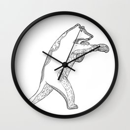 Grizzly Bear Boxing Doodle Art Wall Clock