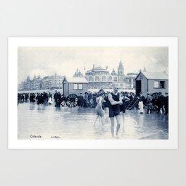 On the beach in 1900, history swimwear Art Print