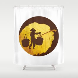 Vietnamese woman street vendor Hanoi Capital Shower Curtain
