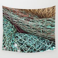 fishing Wall Tapestries featuring FISHING NET by CAPTAINSILVA