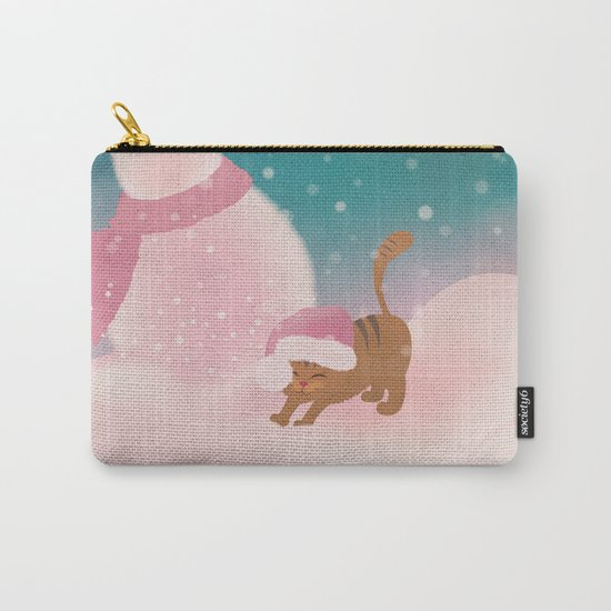 Snow Tabby Cat & Her Snowman, Indigo Snowy Background Carry-All Pouch