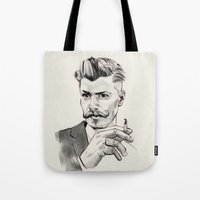 moustache Tote Bags featuring Moustache by hectordanielvargas