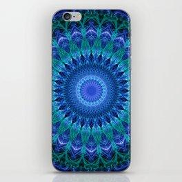 Pretty geometric blue and green mandala iPhone Skin