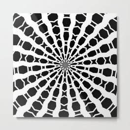 Black and White Bold Kaleidoscope Metal Print