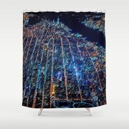 Manhattan Cityscape Landscape Painting by Jeanpaul Ferro Shower Curtain