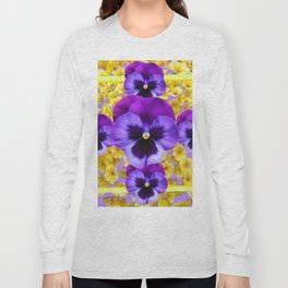PURPLE PANSIES IN YELLOW FLORAL GARDEN Long Sleeve T-shirt