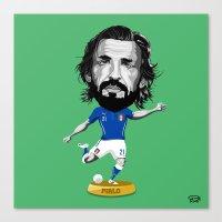 pirlo Canvas Prints featuring Footy Figures / Pirlo by Rudi Gundersen