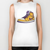 lakers Biker Tanks featuring Jordan 1 mid (LA Lakers) by Pancho the Macho