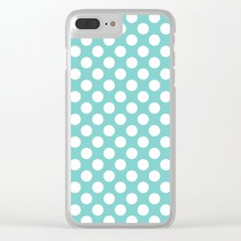 White Polka Dots with Aqua Background Clear iPhone Case