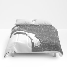 San Diego USA Modern Map Art Print Comforters