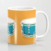 drum Mugs featuring Drum - Orange by Ornaart