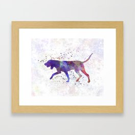 Black and Tan Coonhound in watercolor Framed Art Print