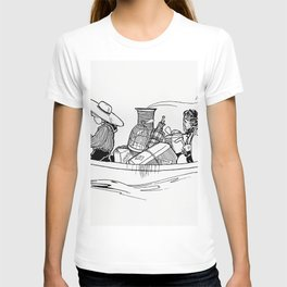 Vintage travelers on a boat from Verses For Grannies Suggested By The Children illustrated by Doroth T-shirt