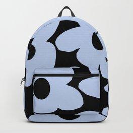 Baby Blue Retro Flowers on Black Background #decor #society6 #buyart Backpack