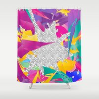 80s Shower Curtains featuring 80s Abstract by Danny Ivan