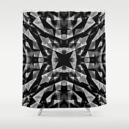 Kaleidoscopic of chaotic black and white glass fragments, irregular cubic figures and ice floes. Shower Curtain