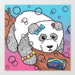 Cute Panda Bubble Pop Doodle pink version Canvas Print