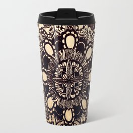 Black Mandala on Gradated Wood Travel Mug