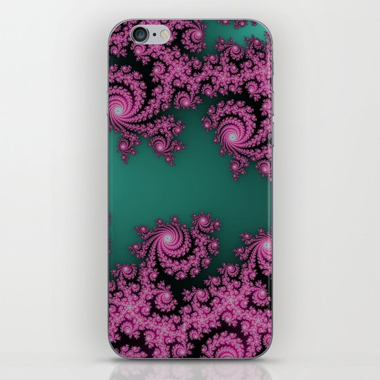 Fractal in Dark Pink and Green iPhone & iPod Skin