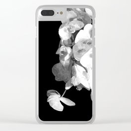 White Orchids Black Background Clear iPhone Case