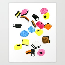 Watercolor Licorice Candy Sweets Art Print