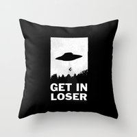 alien Throw Pillows featuring Get In Loser by moop
