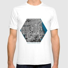 San Francisco city map black colour White SMALL Mens Fitted Tee