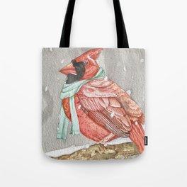 Cardinal in Blue Tote Bag