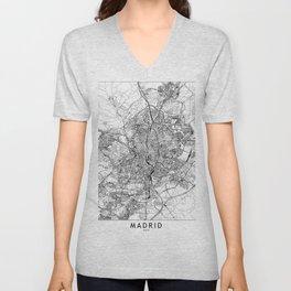 Madrid White Map Unisex V-Neck