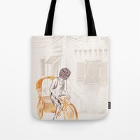 sam smith Tote Bags featuring Sam by David Fleck