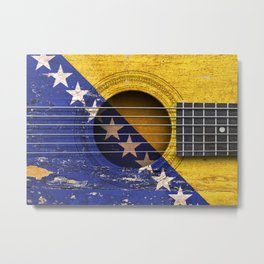 Old Vintage Acoustic Guitar with Bosnian Flag Metal Print